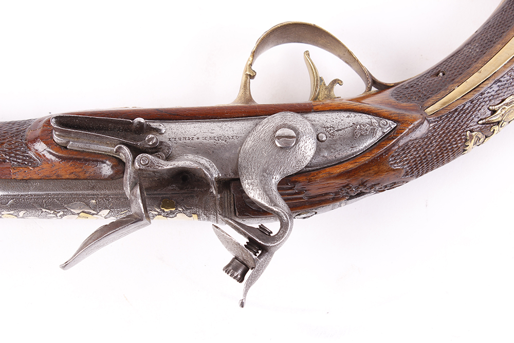 (S58) 18 bore Italian flintlock holster pistol, 14 ins barrel decorated with embossed swags, stand - Image 3 of 5