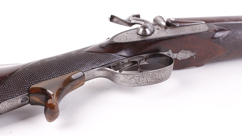 (S58) 8 bore Percussion double sporting gun by Chas Lancaster, 30 ins damascus barrels, the rib - Image 13 of 17