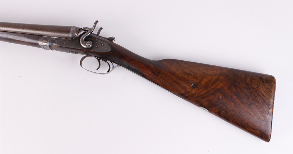 (S2) 12 bore double hammer gun by Thos Johnson c.1875-87, 30 ins brown damascus barrels, recent - Image 5 of 8