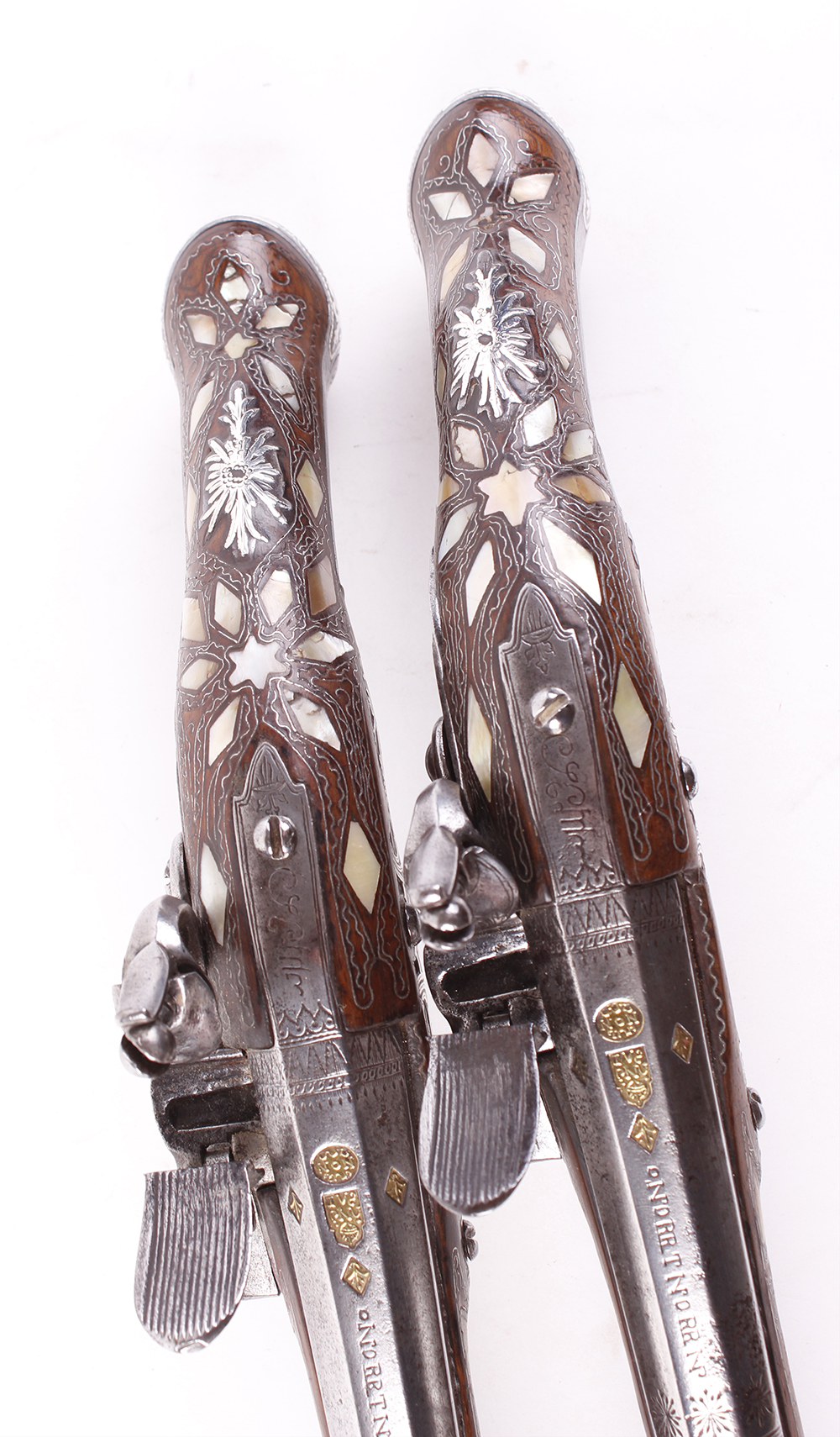 (S58) Pair of 18 bore Spanish holster pistols with 11 ins full stocked two stage barrel, engraved - Image 12 of 13
