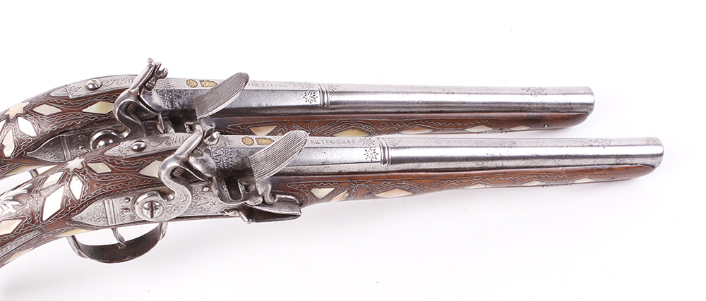 (S58) Pair of 18 bore Spanish holster pistols with 11 ins full stocked two stage barrel, engraved