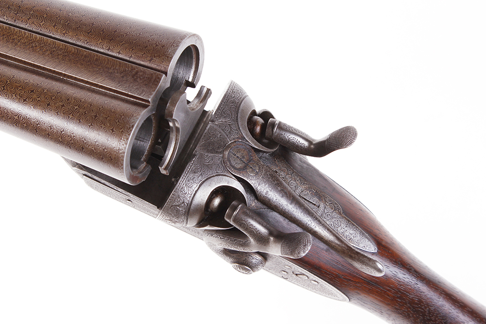 (S2) 12 bore double hammer gun by Thos Johnson c.1875-87, 30 ins brown damascus barrels, recent - Image 8 of 8