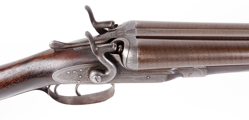 (S2) 12 bore double hammer gun by Thos Johnson c.1875-87, 30 ins brown damascus barrels, recent - Image 3 of 8