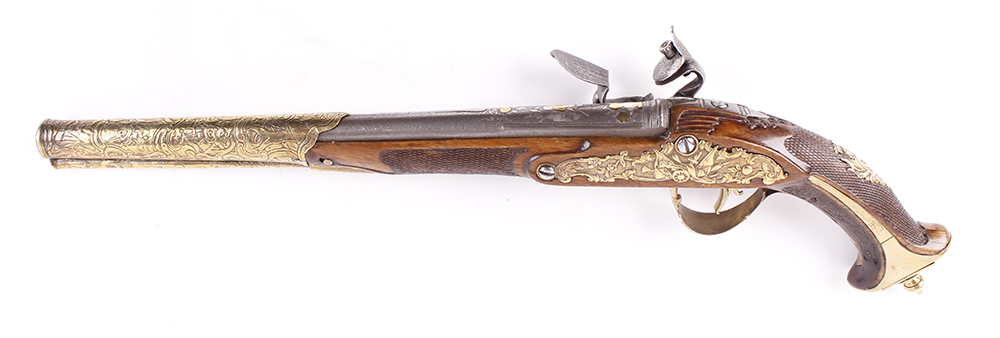 (S58) 18 bore Italian flintlock holster pistol, 14 ins barrel decorated with embossed swags, stand