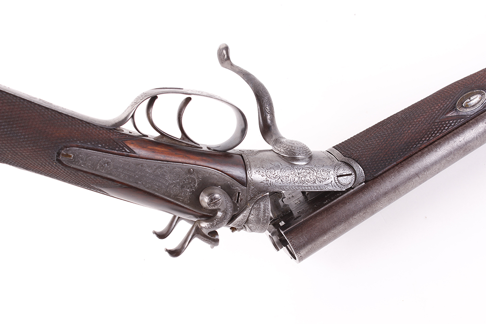 (S2) 12 bore hammer by S & C Smith, 30 ins damascus barrels with broad rib inscribed Saml & C - Image 7 of 12