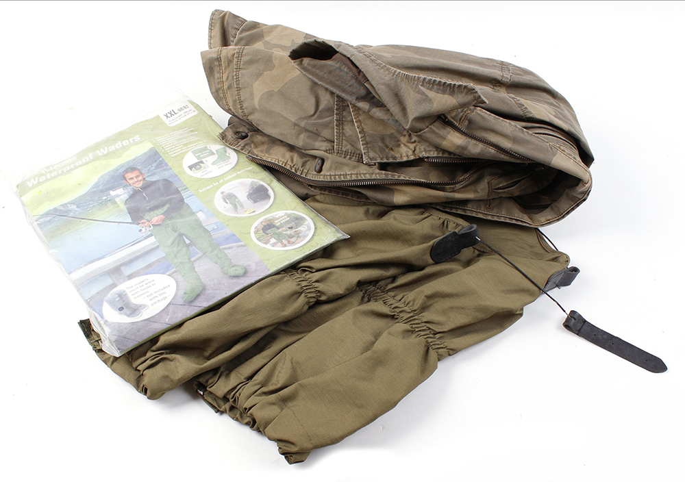 Camo jacket (size M approx.); Pair rip-stop nylon gaiters; Pair waterproof waders, size XXL