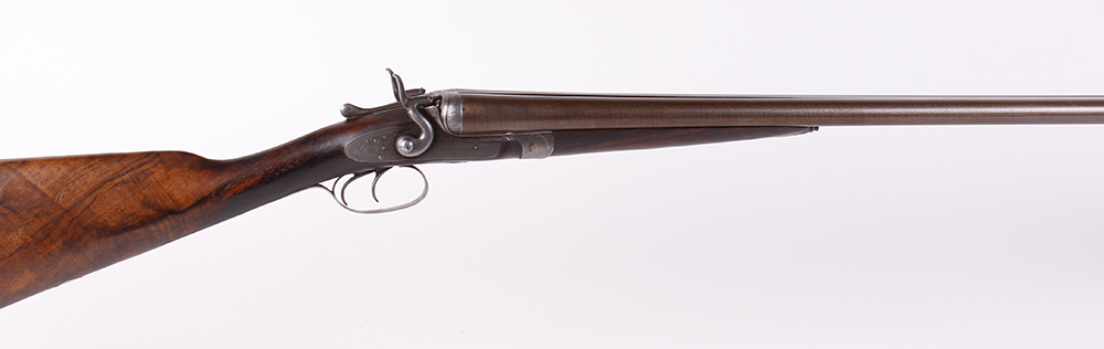 (S2) 12 bore double hammer gun by Thos Johnson c.1875-87, 30 ins brown damascus barrels, recent