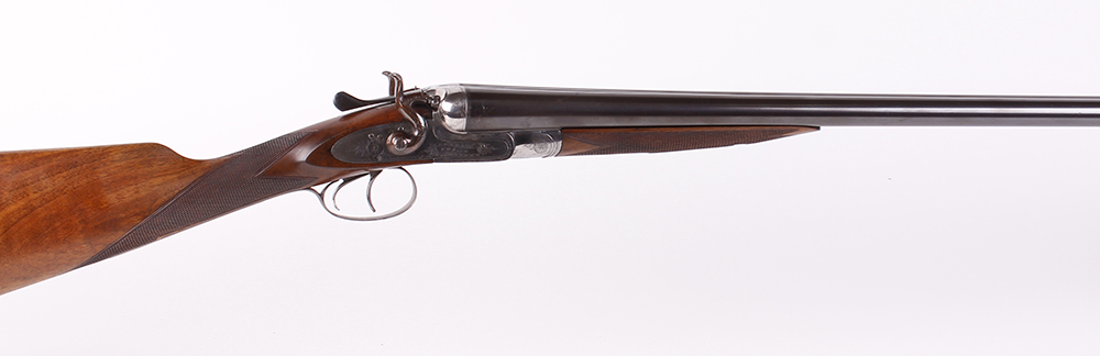 (S2) 12 bore double hammer gun, English, 30 ins barrels, ic & ¾, the rib inscribed W.R. PAPE