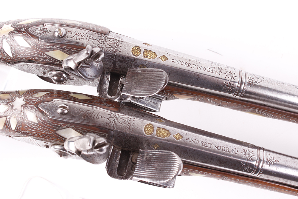 (S58) Pair of 18 bore Spanish holster pistols with 11 ins full stocked two stage barrel, engraved - Image 3 of 13