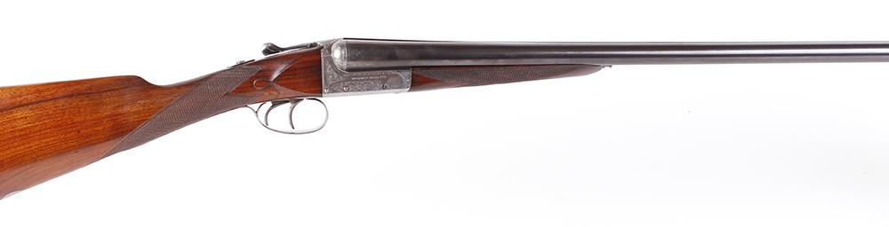 (S2) 12 bore boxlock ejector Webley 700, 26 ins discretely sleeved barrels, ½ & ¾, inscribed