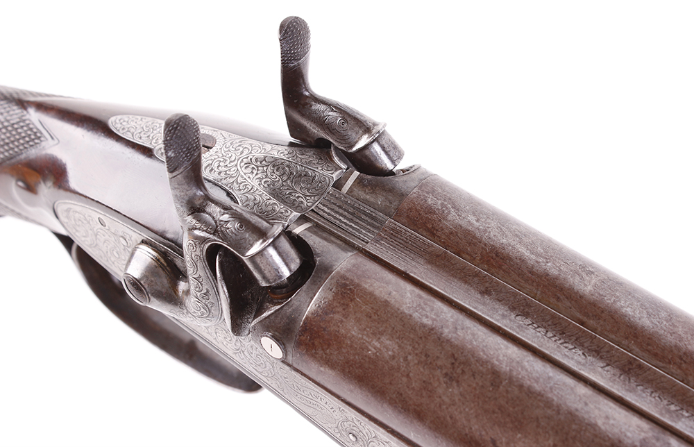 (S58) 8 bore Percussion double sporting gun by Chas Lancaster, 30 ins damascus barrels, the rib - Image 11 of 17