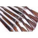 (S2) Seven boxlock non ejector shotguns for parts/repair: English, 28 ins sleeved, no. 456599;