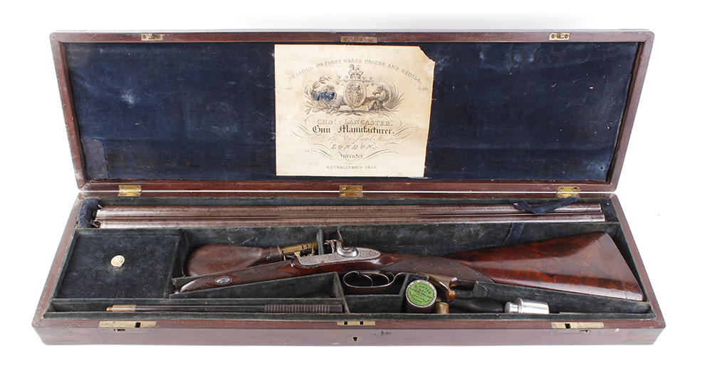(S58) 8 bore Percussion double sporting gun by Chas Lancaster, 30 ins damascus barrels, the rib