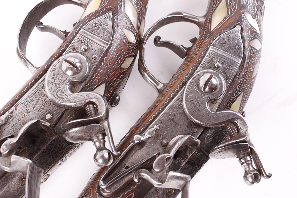 (S58) Pair of 18 bore Spanish holster pistols with 11 ins full stocked two stage barrel, engraved - Image 13 of 13