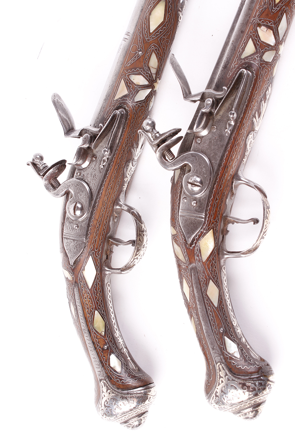 (S58) Pair of 18 bore Spanish holster pistols with 11 ins full stocked two stage barrel, engraved - Image 11 of 13