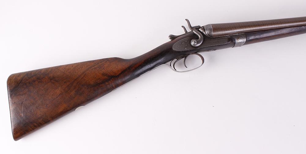 (S2) 12 bore double hammer gun by Thos Johnson c.1875-87, 30 ins brown damascus barrels, recent - Image 4 of 8