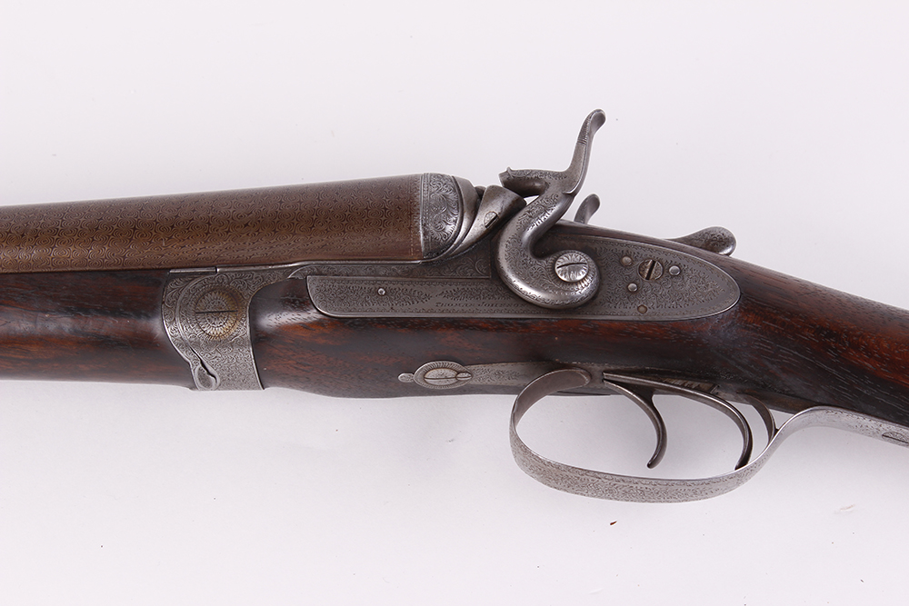 (S2) 12 bore double hammer gun by Thos Johnson c.1875-87, 30 ins brown damascus barrels, recent - Image 6 of 8