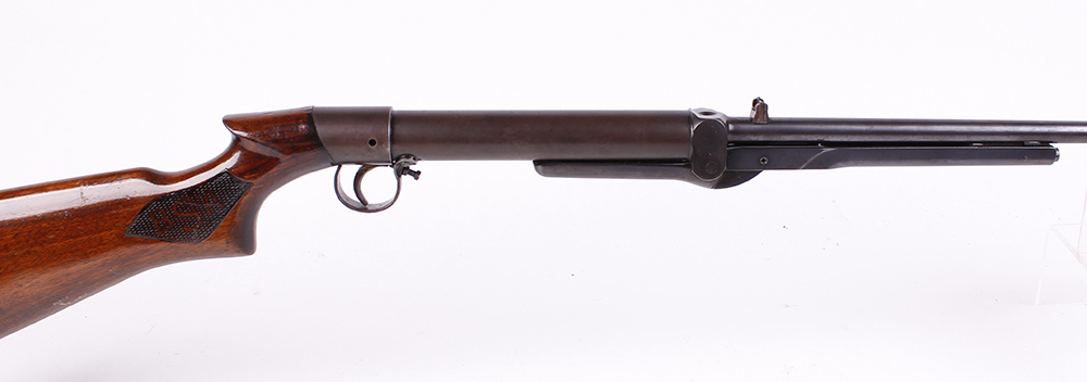 .22 BSA Standard No.1 Model underlever air rifle, open sights, tap loading, chequered panels