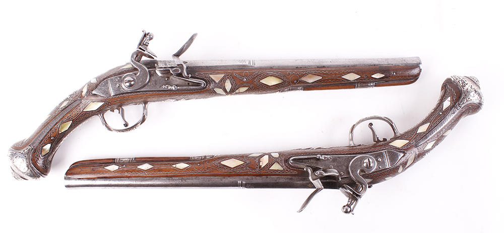 (S58) Pair of 18 bore Spanish holster pistols with 11 ins full stocked two stage barrel, engraved - Image 6 of 13
