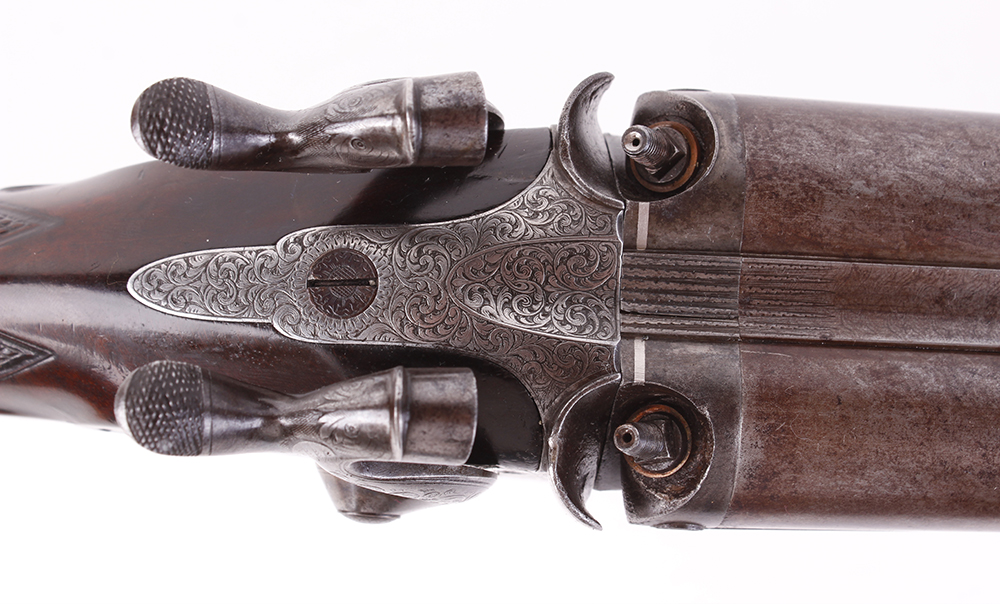(S58) 8 bore Percussion double sporting gun by Chas Lancaster, 30 ins damascus barrels, the rib - Image 12 of 17