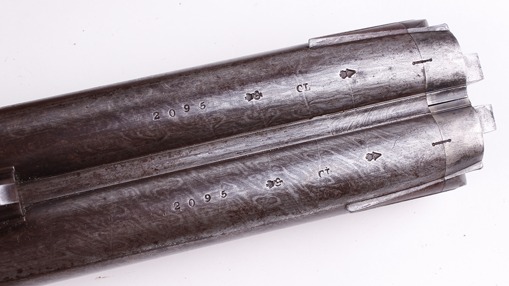 (S58) 8 bore Percussion double sporting gun by Chas Lancaster, 30 ins damascus barrels, the rib - Image 4 of 17