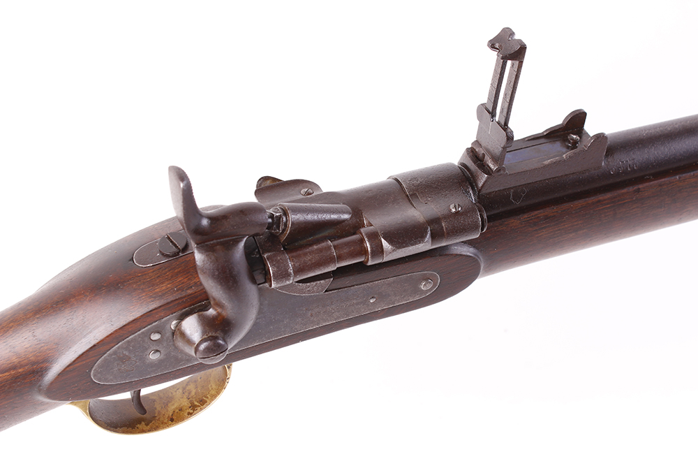 Lot 670 - (S58) .577 Snider Mk III by P Webley & Son, 39 ins three band 3 groove full stocked barrel stamped T