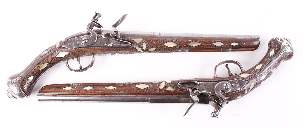(S58) Pair of 18 bore Spanish holster pistols with 11 ins full stocked two stage barrel, engraved - Image 10 of 13