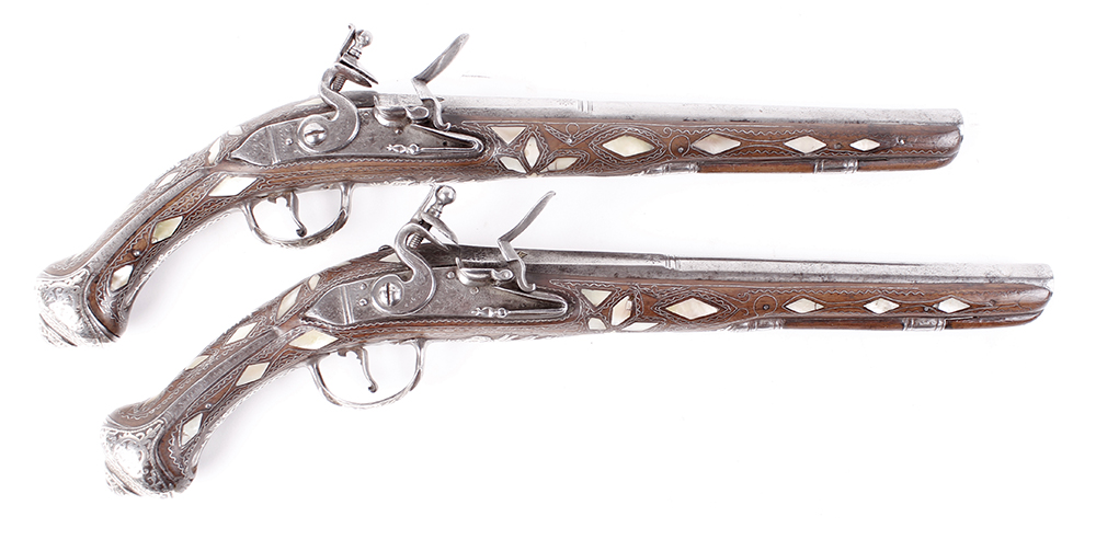 (S58) Pair of 18 bore Spanish holster pistols with 11 ins full stocked two stage barrel, engraved - Image 5 of 13