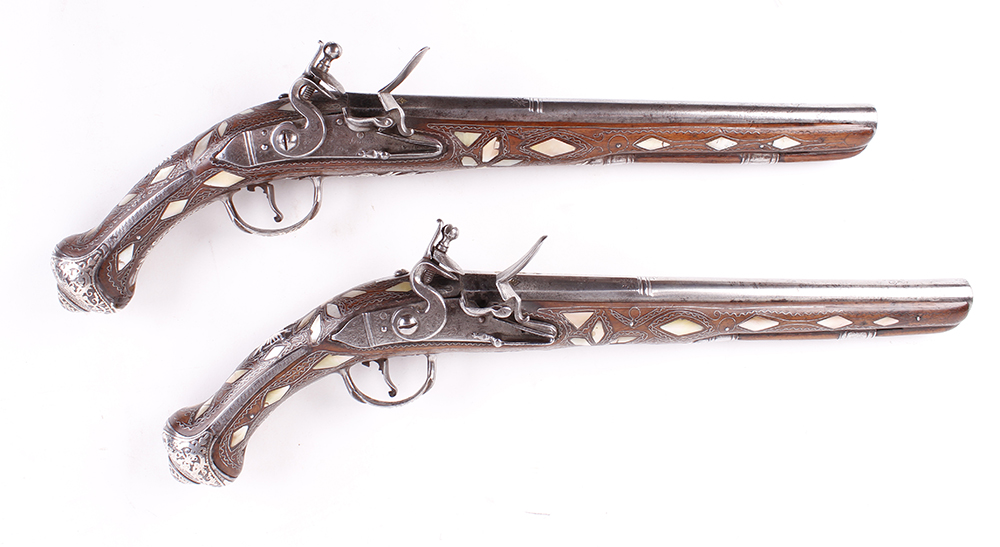 (S58) Pair of 18 bore Spanish holster pistols with 11 ins full stocked two stage barrel, engraved - Image 7 of 13