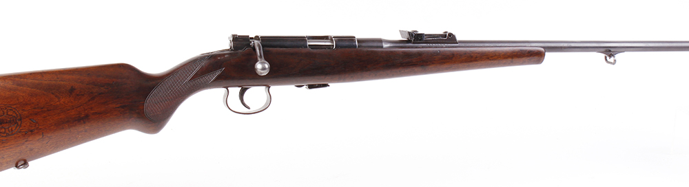 (S1) .22 Mauser Mm 410 B (pre-WWII) bolt action sporting rifle, 23½ ins barrel with blade foresight,