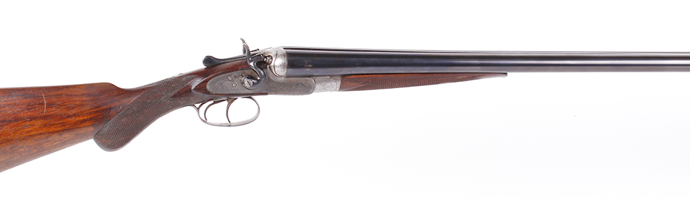 (S2) 12 bore double hammer gun by T. Wild, 28 ins sleeved barrels, ½ & full, the rib inscribed T