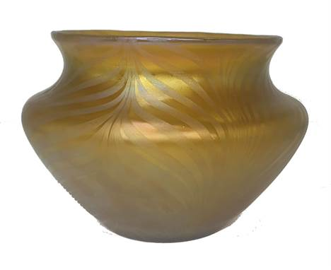 Early Loetz vase with Pn 7501 the decoration isPhenomenon Gre: 7468tHeight:13cm Condition: No chips, cracks or bites.Bib: