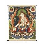 A LARGE SITATARA THANGKA 19TH CENTURYHimalayan. Depiction of the white seven-eyed tara seated on a