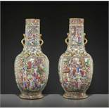 TWO LARGE WATER MARGIN VASES, 1850sChina, mid-19th century. Painted in bright enamels from the