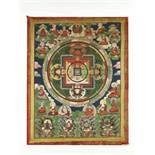 AN 18 ARHATS MANDALA 19TH CENTURYHimalayan. The Mandala with Chakrasamvara in the center is