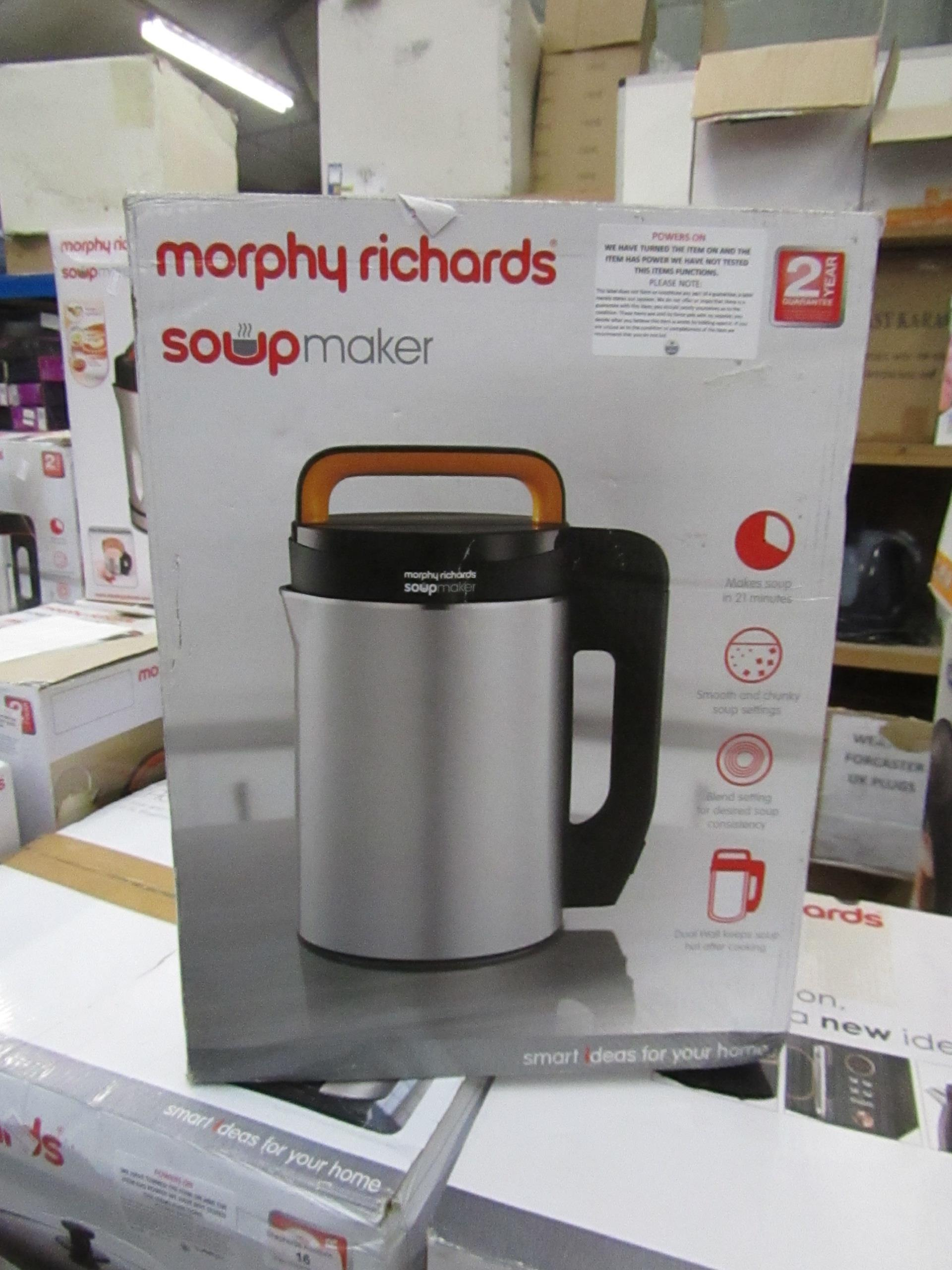 Lot 19 - Morphy Richards soup make,r powers on and boxed