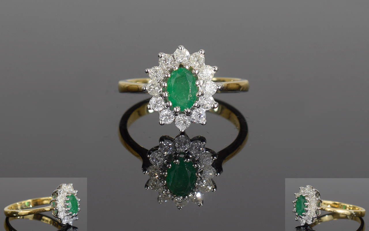 Lot 62 - 18ct Gold Emerald And Diamond Ring, Set