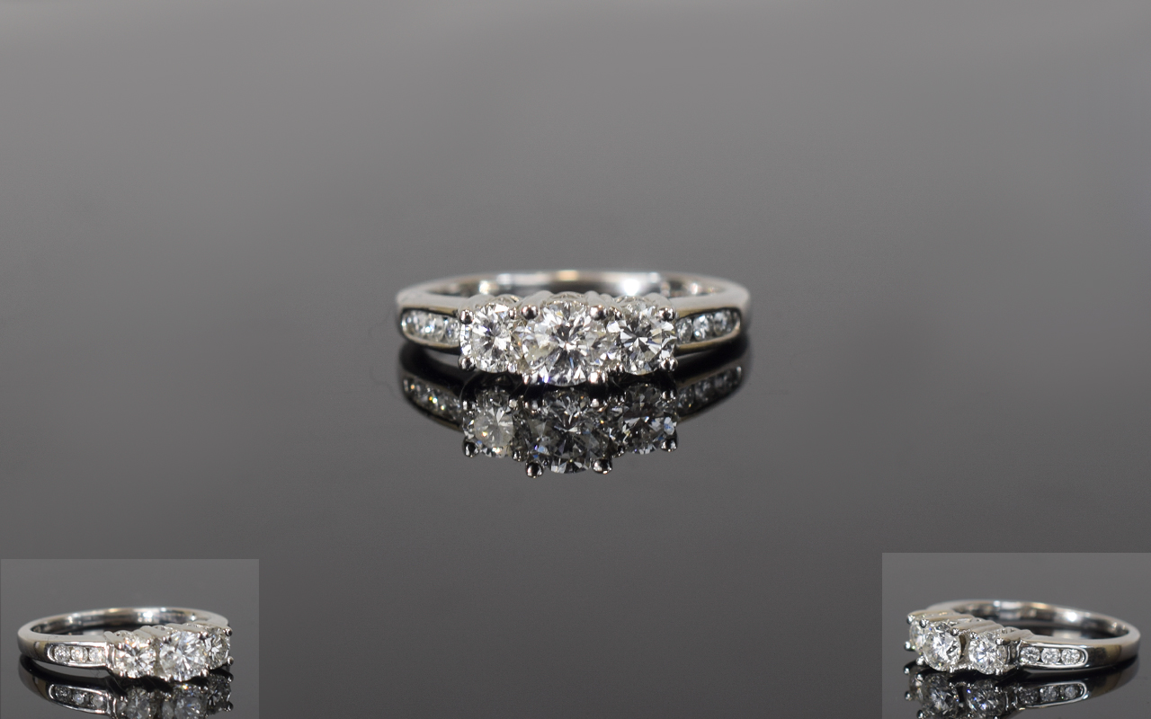 Lot 95 - 14ct White Gold Diamond Trilogy Ring, Se