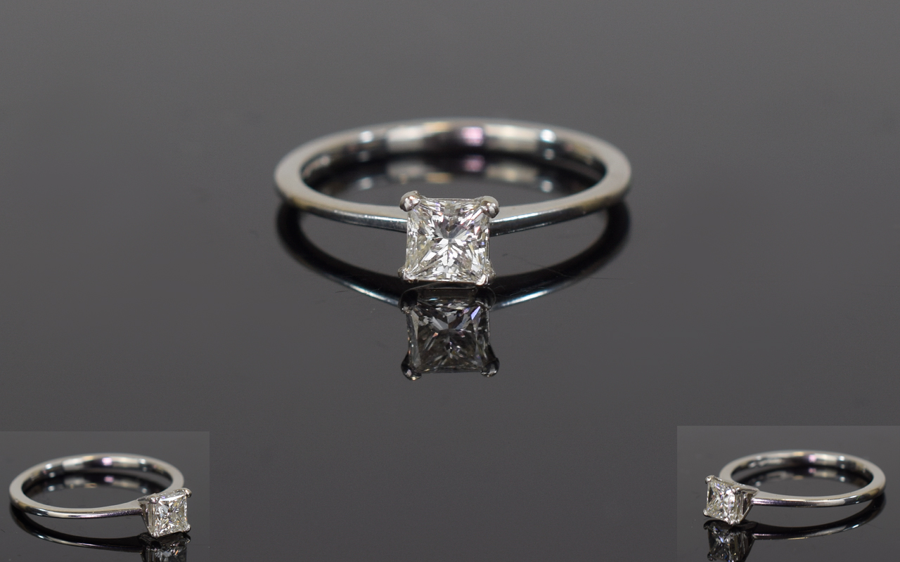 Lot 84 - Platinum Diamond Solitaire Ring, Set Wit