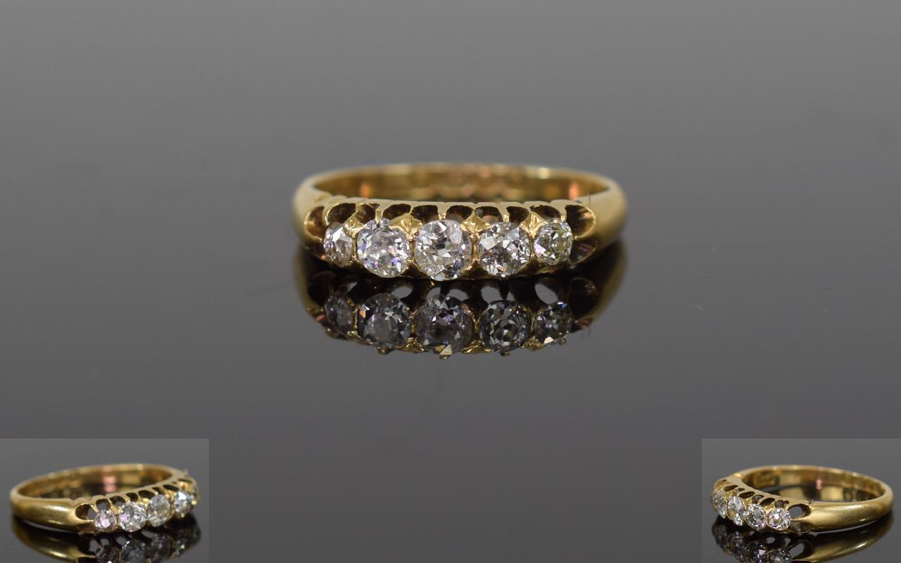Lot 85 - Victorian 18ct Gold Ladies 5 Stone Diamo