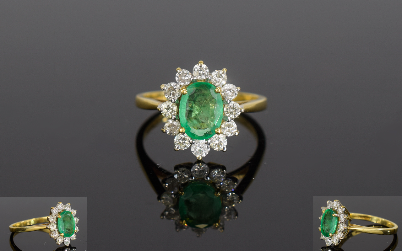 Lot 91 - 18ct Gold Emerald & Diamond Cluster Ring