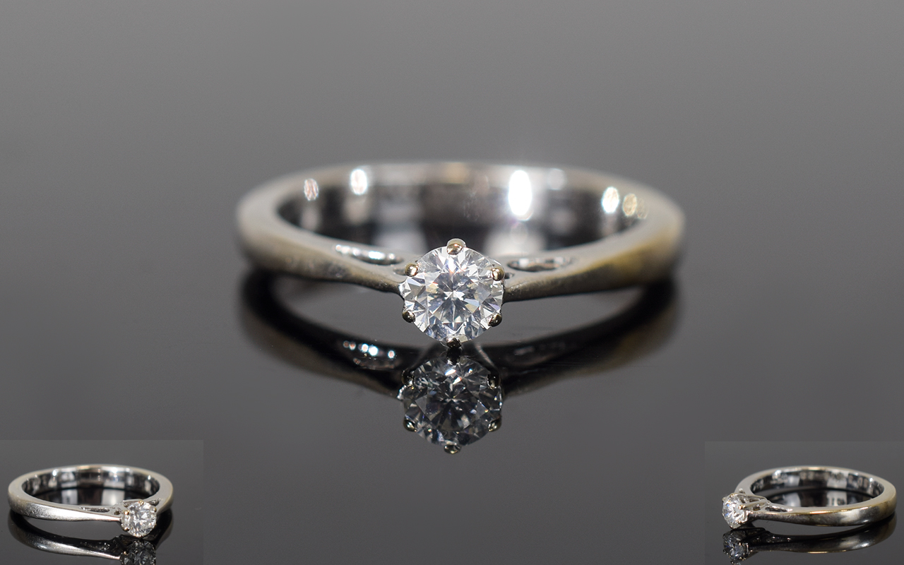 Lot 136 - 18ct Gold Diamond Solitaire Ring, Set Wi