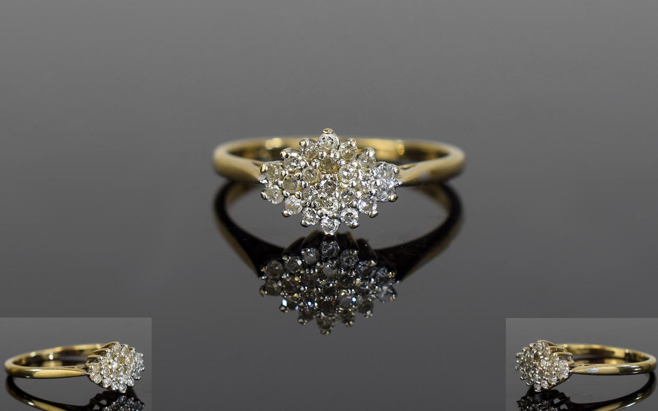 Lot 73 - Ladies 9ct Yellow Gold Set Diamond Clust