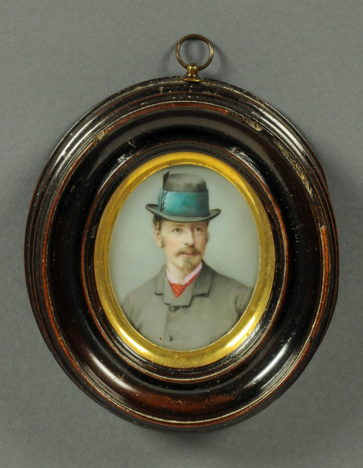 "Lot 505 - A 19th century portrait miniature on porcelain, ""Sir George Brisbane Douglas"". 7 cm x 5.5 cm."