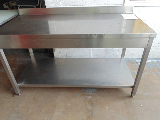 Lot 38 - Stainless steel preparation table with upstand and under shelf 1500mm x700mm x 850mm
