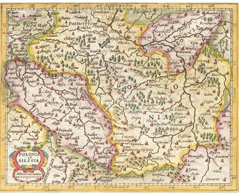 Poland. Hondius (Jodocus & Purchas, Samuel), Polonia et Silesia, circa 1625, hand-coloured engraved map, English text bel