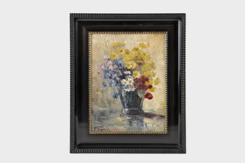 Franz Demel (Wien 1878-1947),Blumenstrauss in Vase, Öl auf Platte, 43,5X33 cm, gerahmt; - Bild 2 aus 2