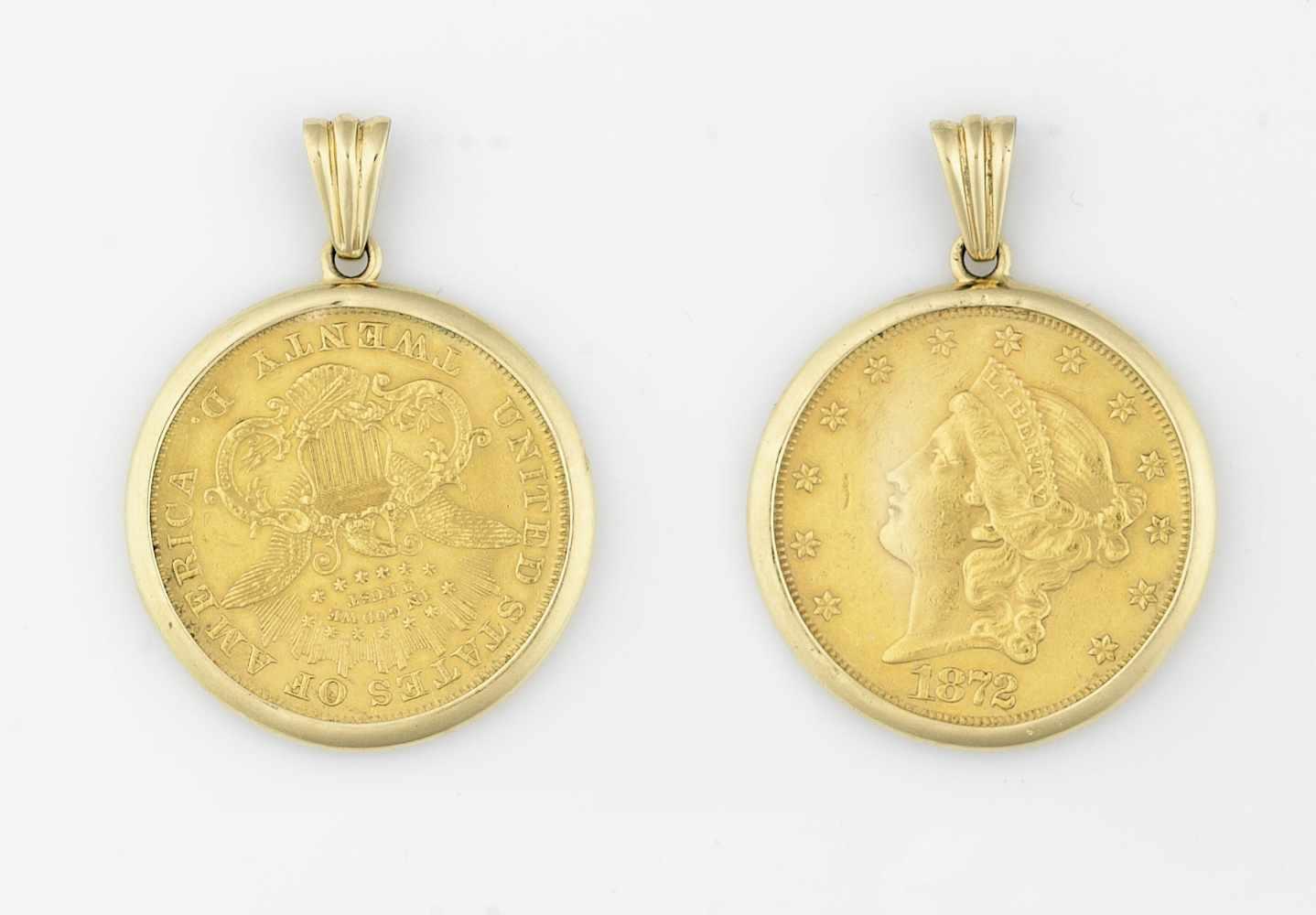 USA 20 Dollar Liberty GoldmünzanhängerGold 900 und 750, 1872, 37,7g