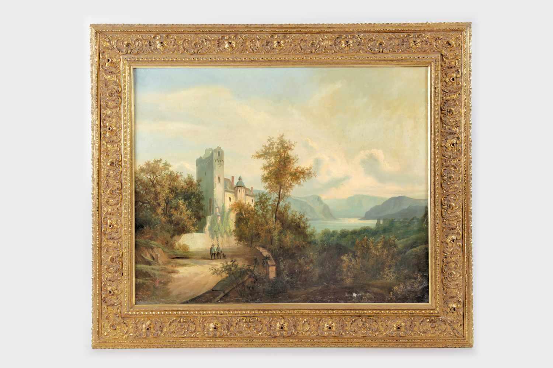 Maler des 19.Jh.Romantische Landschaft mit Burg, Öl auf Leinwand, kaschiert auf Holzplatte, - Bild 2 aus 2