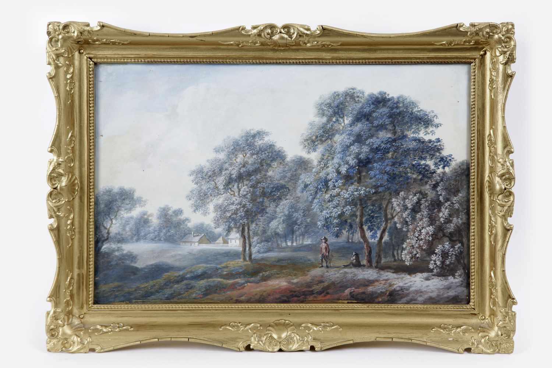 Künstler Anfang 20.Jh.,Spaziergang , Gouache auf Papier, 23x35 cm, verglast, gerahmt, Holz